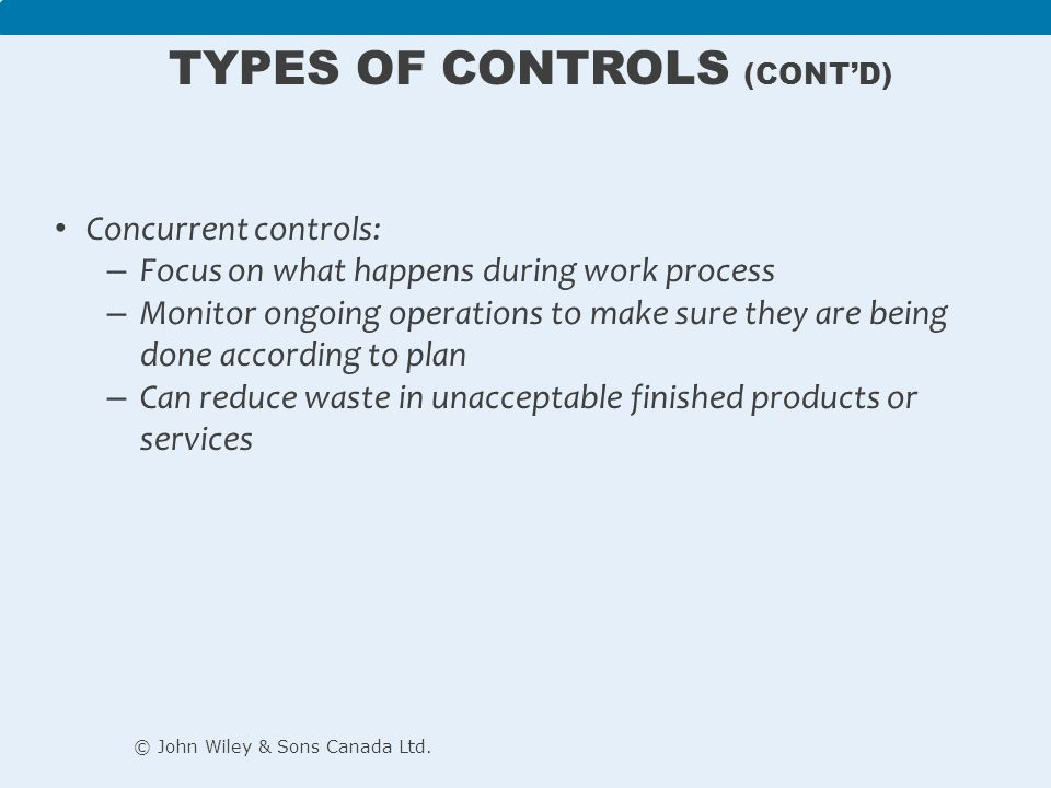 Feedback controls: – Take place after work is completed – Focus on quality of end results – Provide useful information for improving future operations © John Wiley & Sons Canada Ltd.