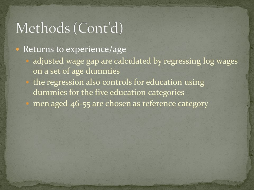Returns to experience/age adjusted wage gap are calculated by regressing log wages on a set of age dummies the regression also controls for education using dummies for the five education categories men aged are chosen as reference category