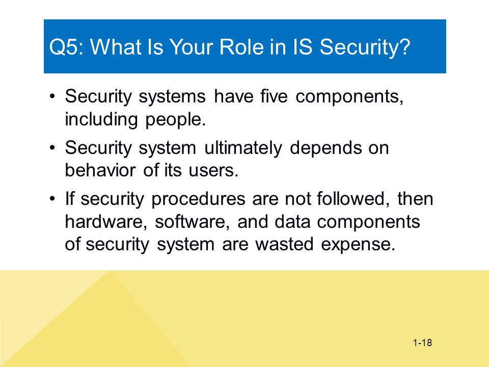 1-18 Q5: What Is Your Role in IS Security? Security systems have five components, including people. Security system ultimately depends on behavior of