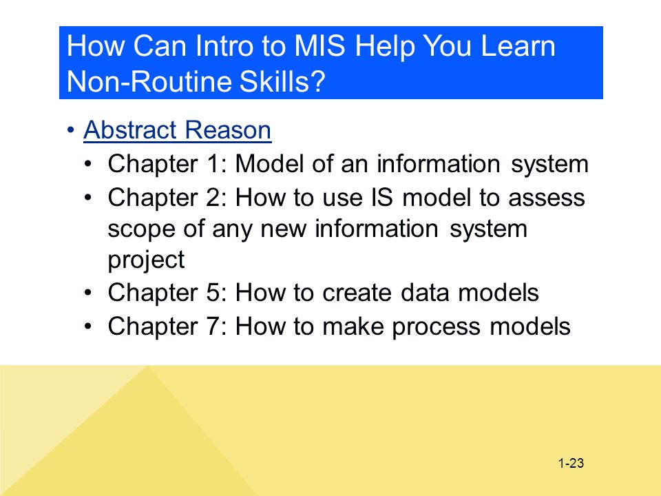 1-23 How Can Intro to MIS Help You Learn Non-Routine Skills? Abstract Reason Chapter 1: Model of an information system Chapter 2: How to use IS model