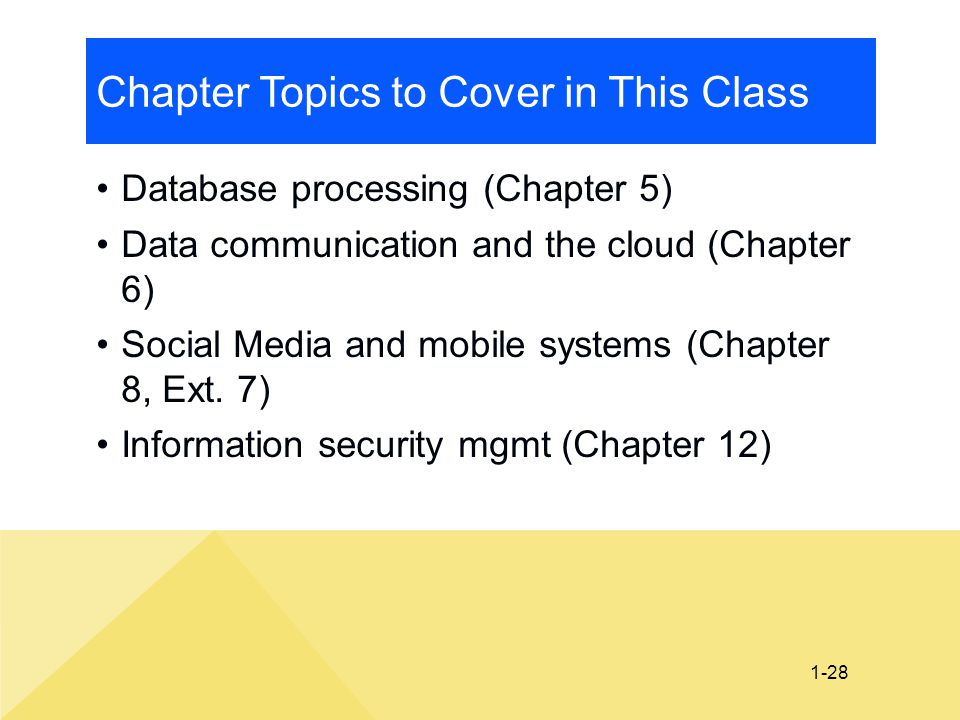 1-28 Chapter Topics to Cover in This Class Database processing (Chapter 5) Data communication and the cloud (Chapter 6) Social Media and mobile system