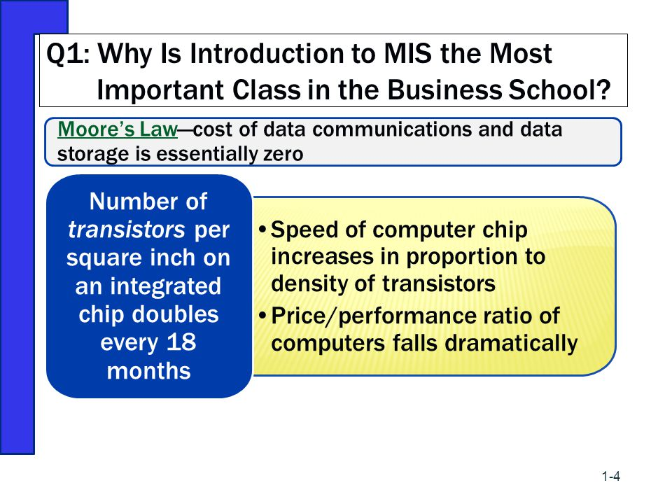 Moore's LawMoore's Law—cost of data communications and data storage is essentially zero Speed of computer chip increases in proportion to density of t