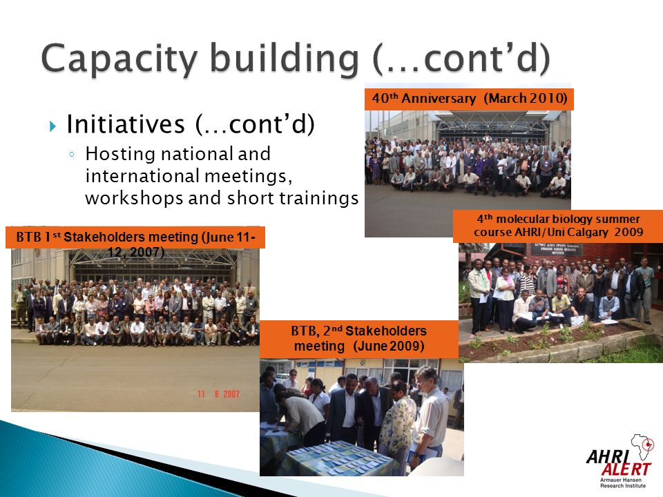  Initiatives (…cont'd) ◦ Hosting national and international meetings, workshops and short trainings 40 th Anniversary (March 2010) BTB 1 st Stakehold