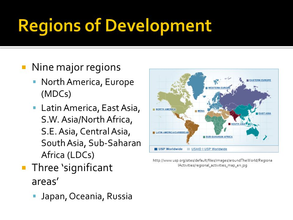  Nine major regions  North America, Europe (MDCs)  Latin America, East Asia, S.W.