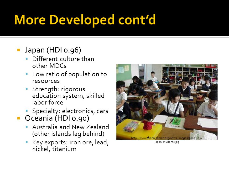  Japan (HDI 0.96)  Different culture than other MDCs  Low ratio of population to resources  Strength: rigorous education system, skilled labor force  Specialty: electronics, cars  Oceania (HDI 0.90)  Australia and New Zealand (other islands lag behind)  Key exports: iron ore, lead, nickel, titanium http://www.asianresearch.org/news_images/2003-10-9- japan_students.jpg