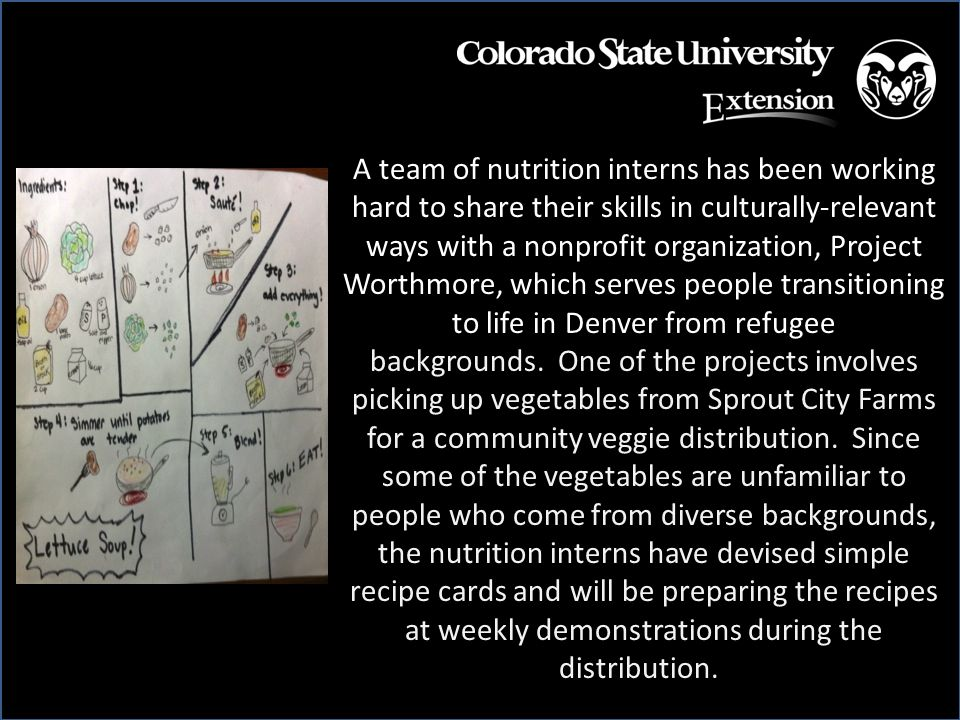 A team of nutrition interns has been working hard to share their skills in culturally-relevant ways with a nonprofit organization, Project Worthmore, which serves people transitioning to life in Denver from refugee backgrounds.