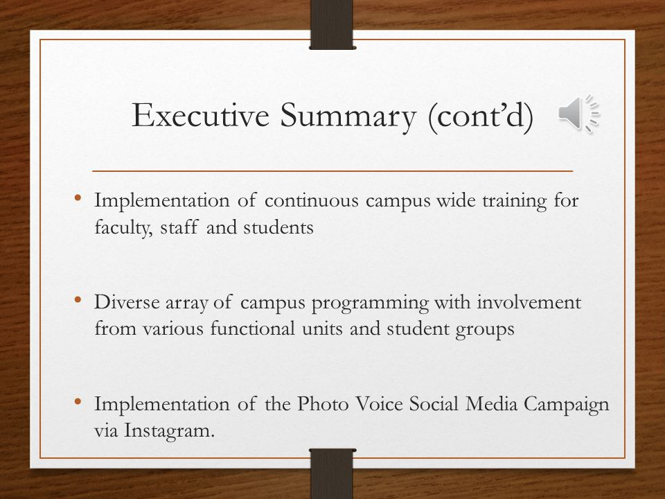 Executive Summary (cont'd) Implementation of continuous campus wide training for faculty, staff and students Diverse array of campus programming with involvement from various functional units and student groups Implementation of the Photo Voice Social Media Campaign via Instagram.