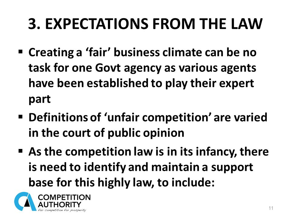 3. EXPECTATIONS FROM THE LAW  Creating a 'fair' business climate can be no task for one Govt agency as various agents have been established to play t