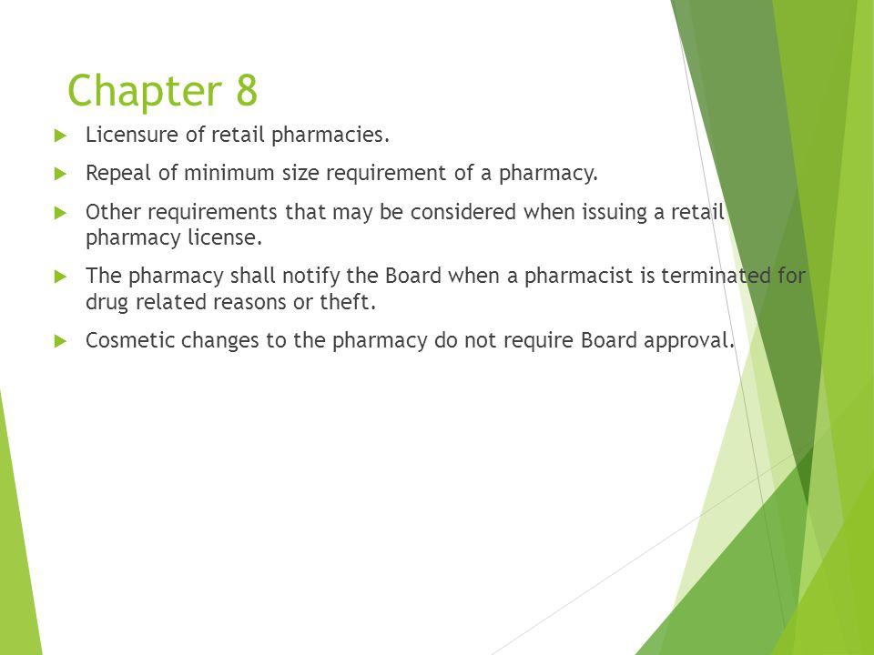 Chapter 8  Licensure of retail pharmacies.  Repeal of minimum size requirement of a pharmacy.