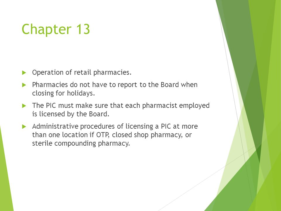 Chapter 13  Operation of retail pharmacies.