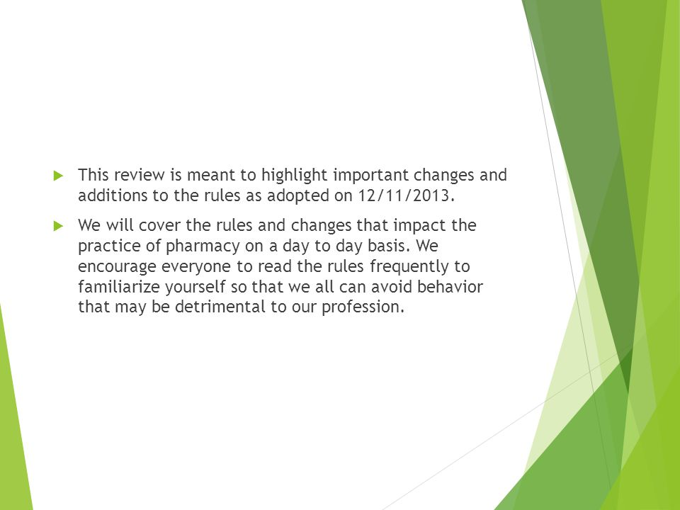 Chapter 7 cont'd  All the previous duties are to be done solely at the discretion of the pharmacist on duty!