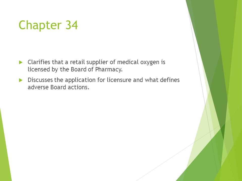 Chapter 34  Clarifies that a retail supplier of medical oxygen is licensed by the Board of Pharmacy.