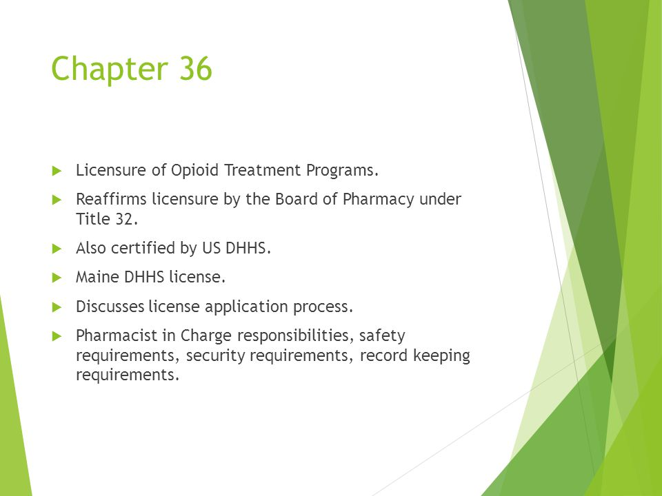 Chapter 36  Licensure of Opioid Treatment Programs.