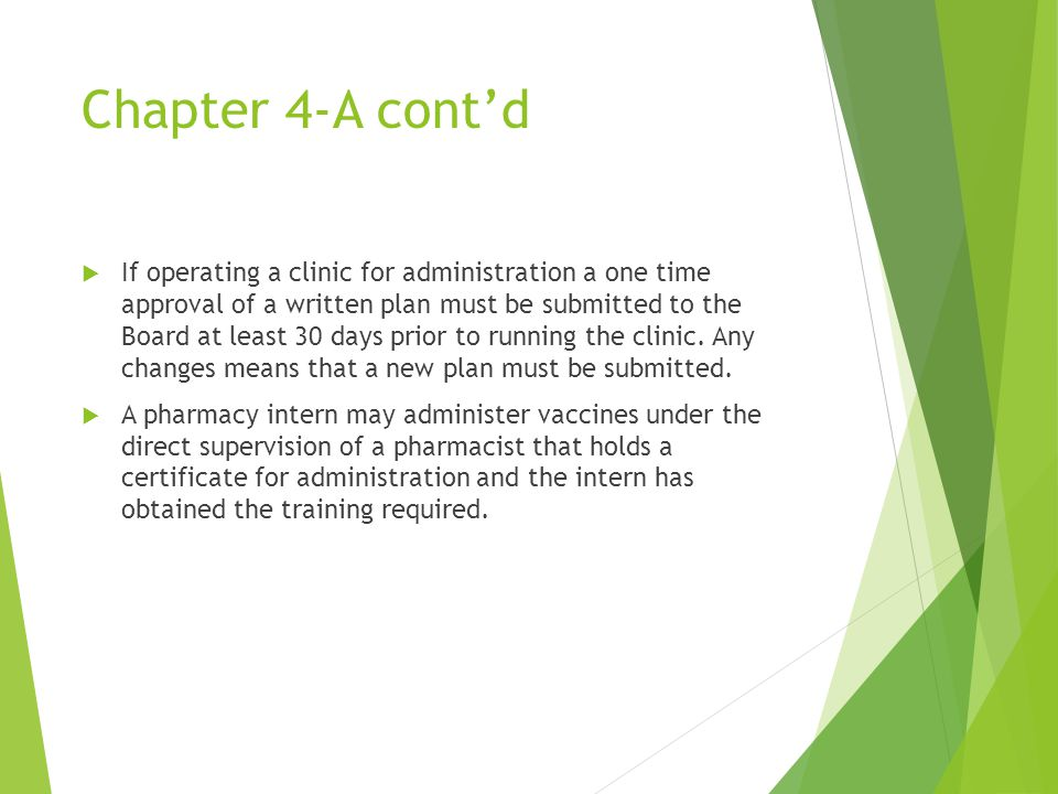 Chapter 4-A cont'd  If operating a clinic for administration a one time approval of a written plan must be submitted to the Board at least 30 days prior to running the clinic.