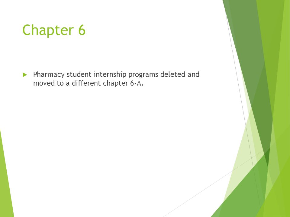 Chapter 6  Pharmacy student internship programs deleted and moved to a different chapter 6-A.