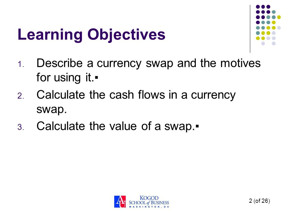 2 (of 26) Learning Objectives 1. Describe a currency swap and the motives for using it.▪ 2.