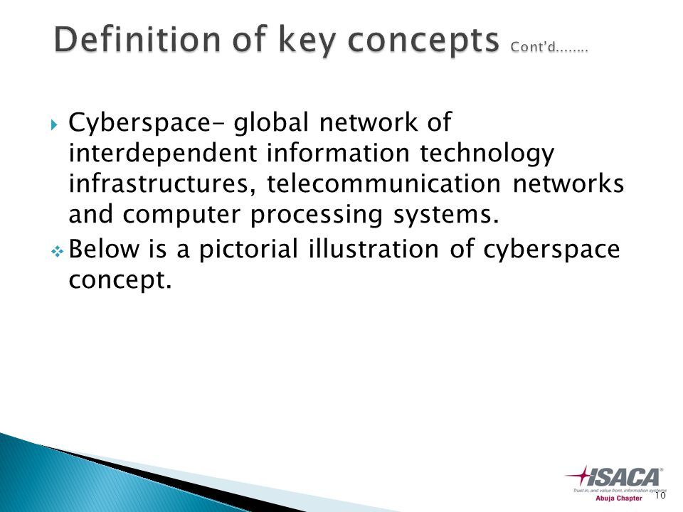  Cyberspace- global network of interdependent information technology infrastructures, telecommunication networks and computer processing systems.