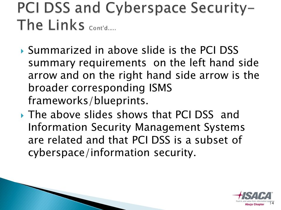  Summarized in above slide is the PCI DSS summary requirements on the left hand side arrow and on the right hand side arrow is the broader corresponding ISMS frameworks/blueprints.