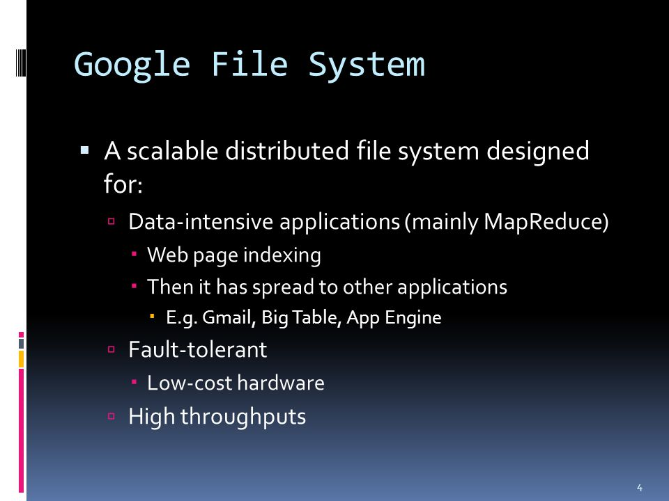 Google File System (cont'd)  Departure from other file system assumptions  Run on top of the commodity hardware  Component failures are common  Files are huge  Basic block size 64~128 MB  1~64KB in traditional file systems (Ext3/NTFS and etc.)  Massive-data/data-intensive processing  Large streaming read and small random read  Large, sequential writes  No (or bare) random writes 5