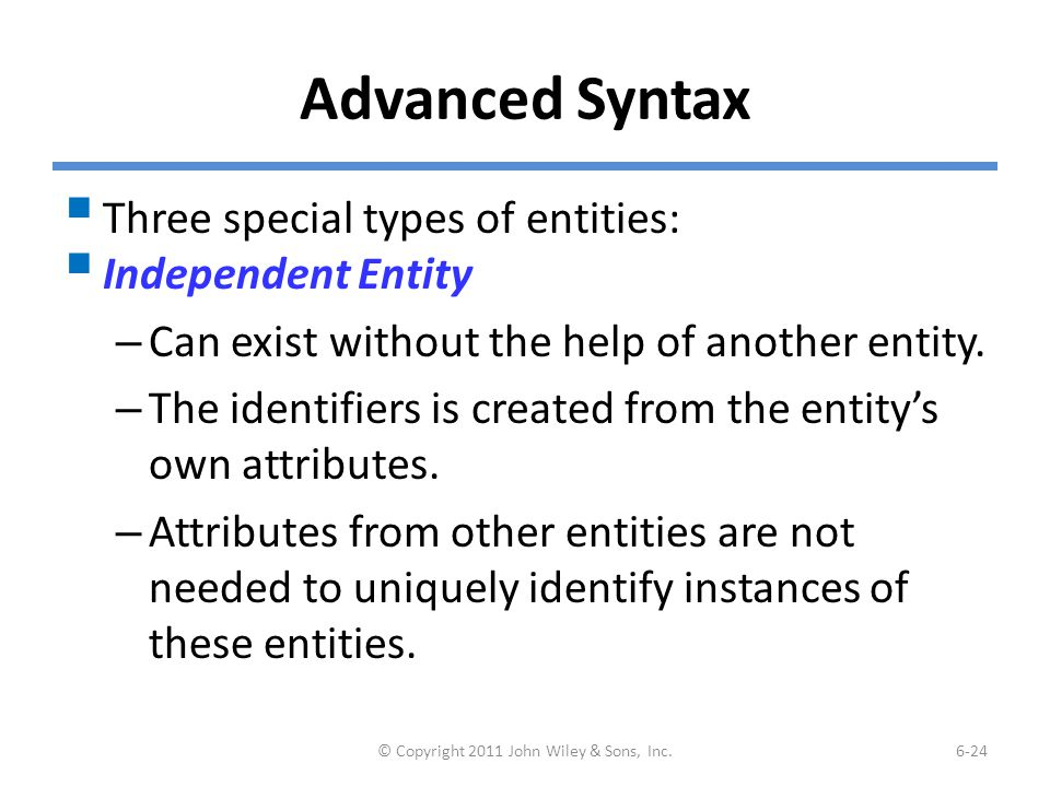 Advanced Syntax  Three special types of entities:  Independent Entity – Can exist without the help of another entity. – The identifiers is created f