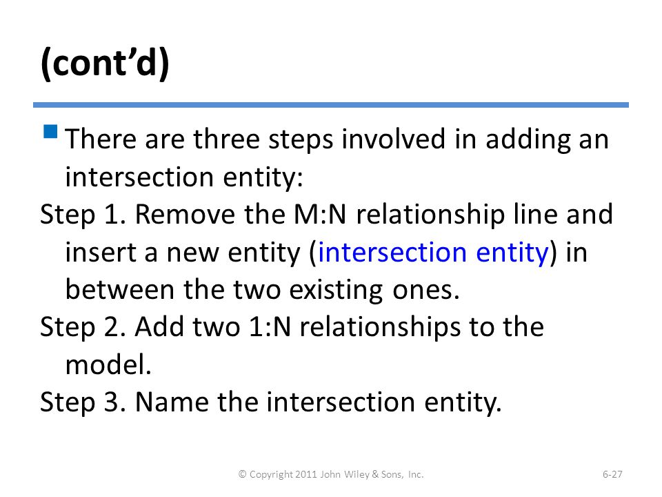 (cont'd)  There are three steps involved in adding an intersection entity: Step 1. Remove the M:N relationship line and insert a new entity (intersec