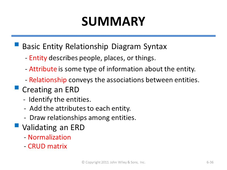 SUMMARY  Basic Entity Relationship Diagram Syntax - Entity describes people, places, or things. - Attribute is some type of information about the ent