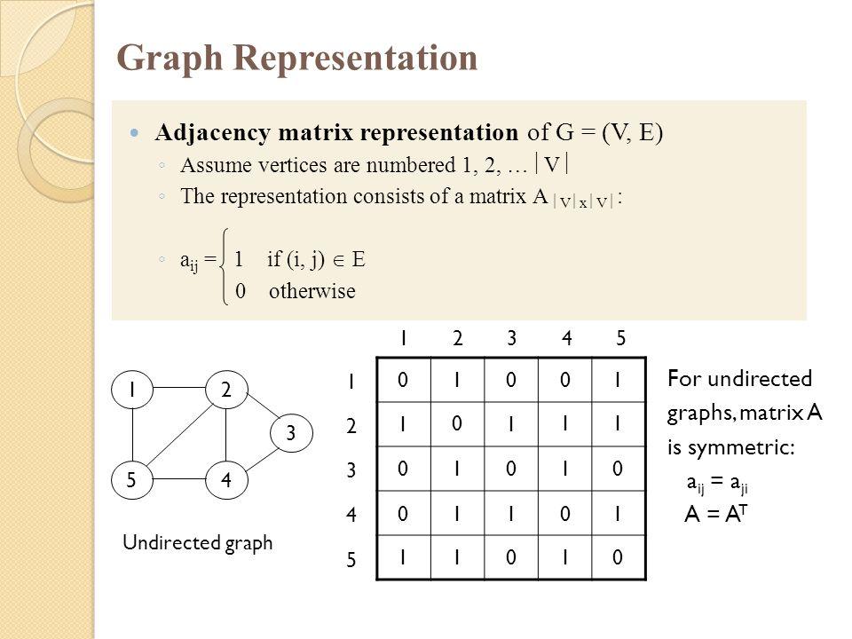 Graph Representation Adjacency matrix representation of G = (V, E) ◦ Assume vertices are numbered 1, 2, …  V  ◦ The representation consists of a mat