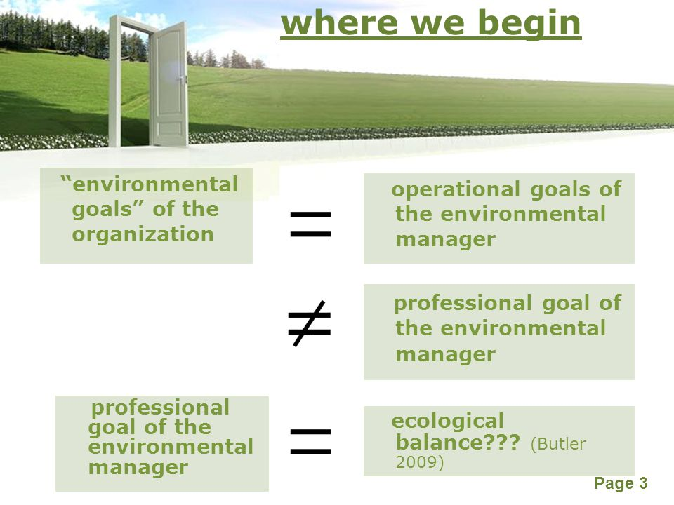 Powerpoint Templates Page 3 where we begin environmental goals of the organization professional goal of the environmental manager operational goals of the environmental manager ecological balance??.