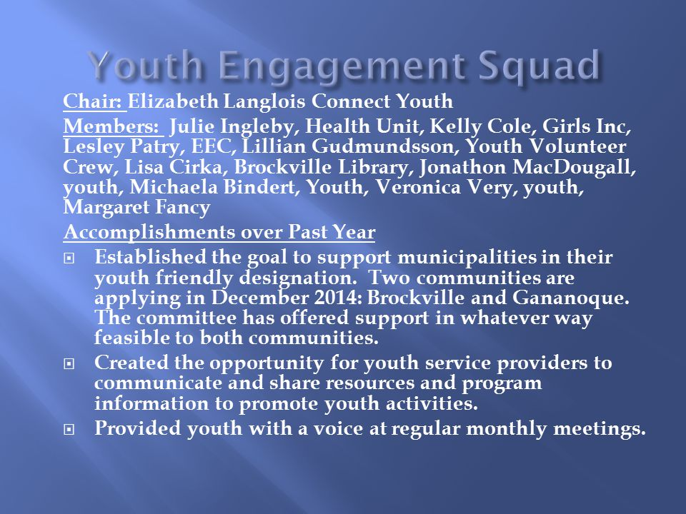 Chair: Elizabeth Langlois Connect Youth Members: Julie Ingleby, Health Unit, Kelly Cole, Girls Inc, Lesley Patry, EEC, Lillian Gudmundsson, Youth Volunteer Crew, Lisa Cirka, Brockville Library, Jonathon MacDougall, youth, Michaela Bindert, Youth, Veronica Very, youth, Margaret Fancy Accomplishments over Past Year  Established the goal to support municipalities in their youth friendly designation.
