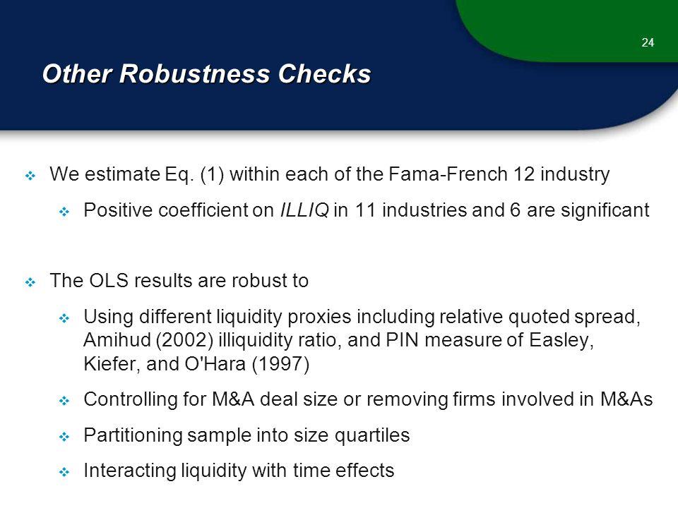 Other Robustness Checks  We estimate Eq.