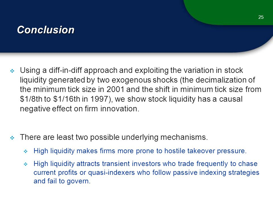 Conclusion  Using a diff-in-diff approach and exploiting the variation in stock liquidity generated by two exogenous shocks (the decimalization of the minimum tick size in 2001 and the shift in minimum tick size from $1/8th to $1/16th in 1997), we show stock liquidity has a causal negative effect on firm innovation.