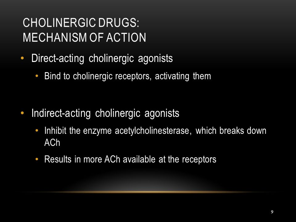 Direct-acting cholinergic agonists Bind to cholinergic receptors, activating them Indirect-acting cholinergic agonists Inhibit the enzyme acetylcholin