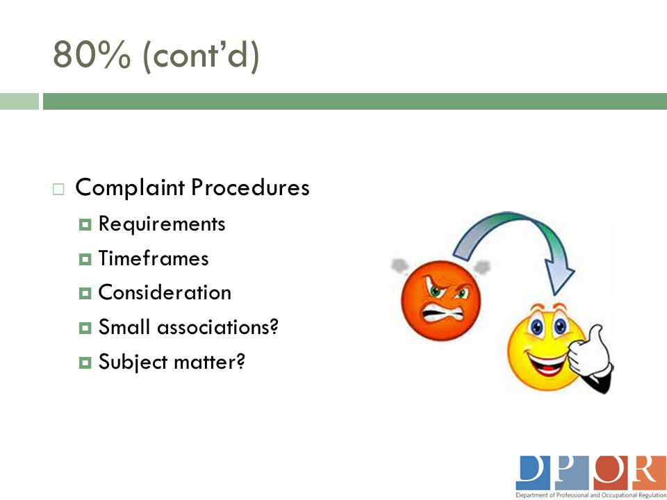 80% (cont'd)  Complaint Procedures  Requirements  Timeframes  Consideration  Small associations?  Subject matter?