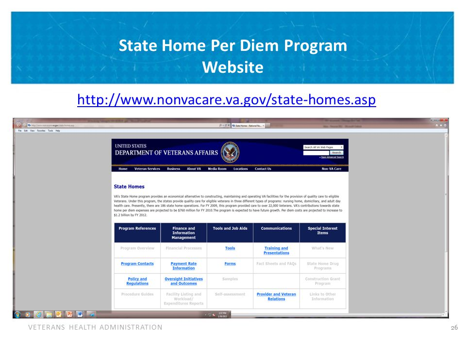 VETERANS HEALTH ADMINISTRATION State Home Per Diem Program Website http://www.nonvacare.va.gov/state-homes.asp 26