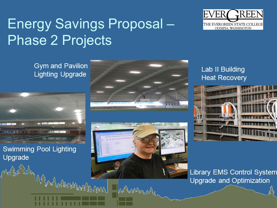 Energy Savings Proposal – Phase 2 Projects Gym and Pavilion Lighting Upgrade Swimming Pool Lighting Upgrade Library EMS Control System Upgrade and Optimization Lab II Building Heat Recovery