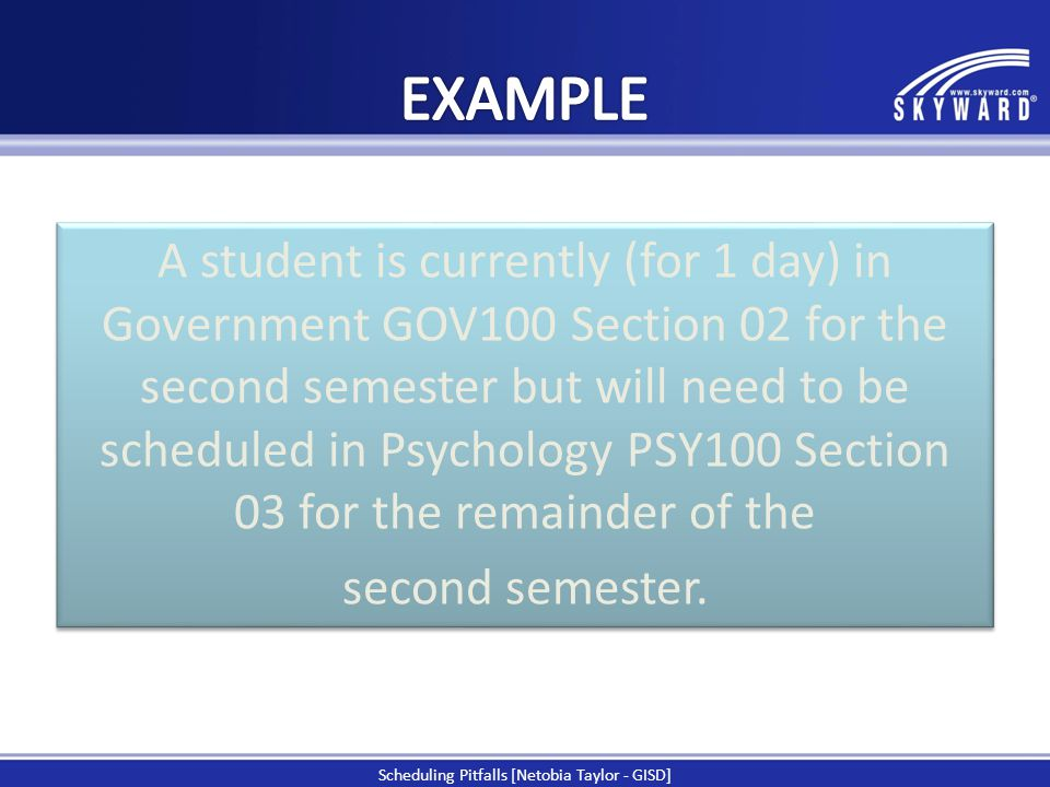 A student is currently (for 1 day) in Government GOV100 Section 02 for the second semester but will need to be scheduled in Psychology PSY100 Section