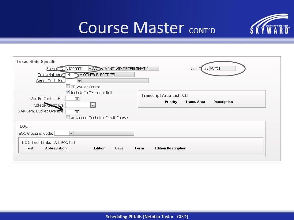 Course Master CONT'D
