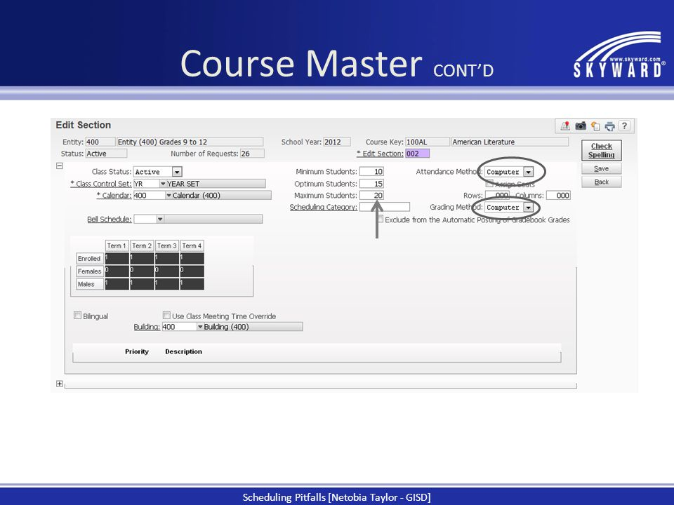 Course Master CONT'D Scheduling Pitfalls [Netobia Taylor - GISD]