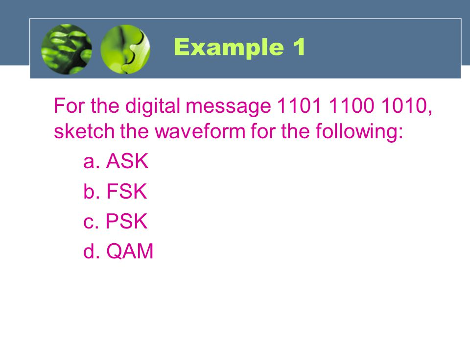 Example 1 For the digital message 1101 1100 1010, sketch the waveform for the following: a. ASK b. FSK c. PSK d. QAM