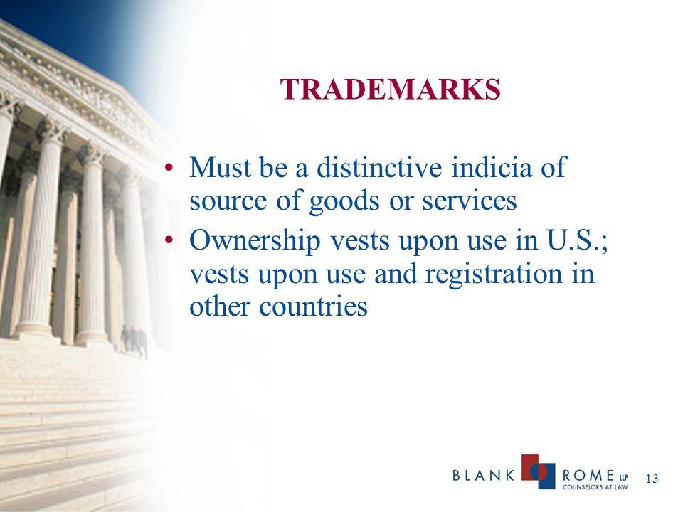 14 TRADEMARKS (cont'd) Examples –Trademarks –Service Marks –Trade Names –Logos –Slogans –Domain Names –Trade Dress