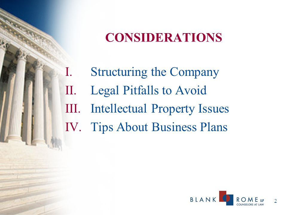 3 STRUCTURING THE COMPANY Choice of Entity: Corporation – S vs.