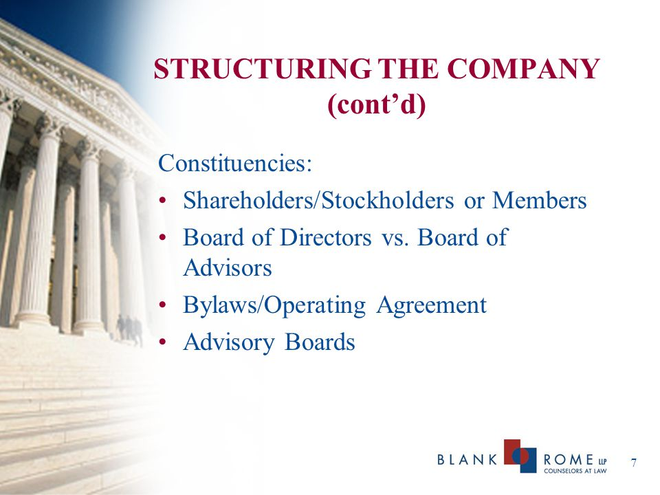 8 STRUCTURING THE COMPANY (cont'd) Important Agreements: Shareholders Operating Agreements Employment/Consulting Agreements License Agreements Customer Contracts