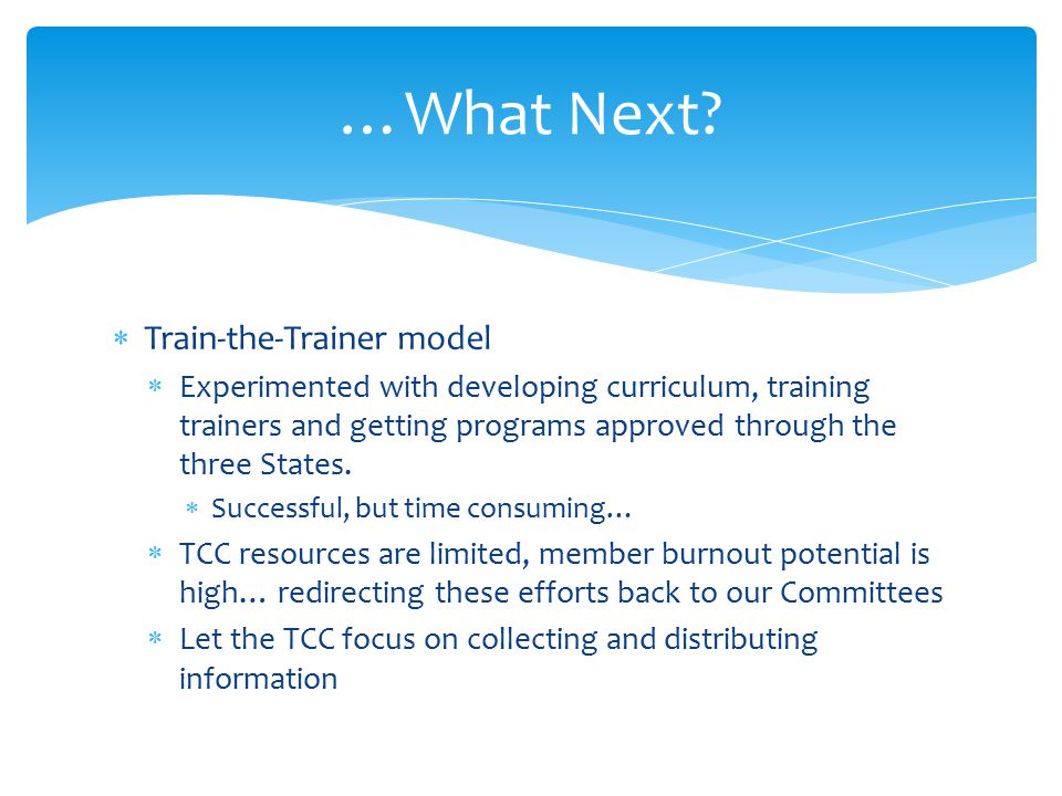  Train-the-Trainer model  Experimented with developing curriculum, training trainers and getting programs approved through the three States.