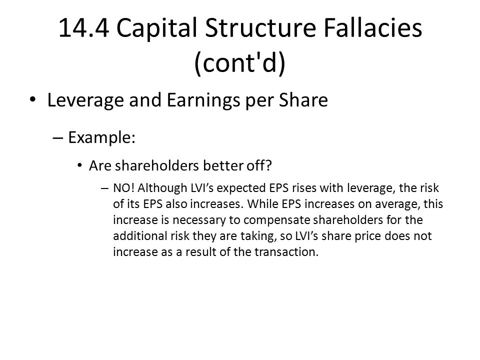 14.4 Capital Structure Fallacies (cont d) Leverage and Earnings per Share – Example: Are shareholders better off.