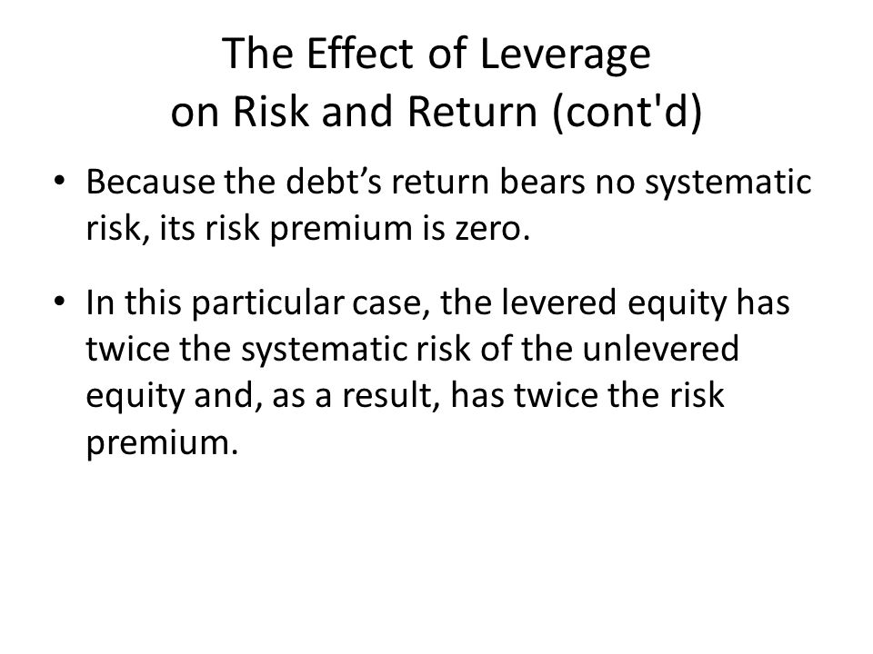 The Effect of Leverage on Risk and Return (cont d) Because the debt's return bears no systematic risk, its risk premium is zero.