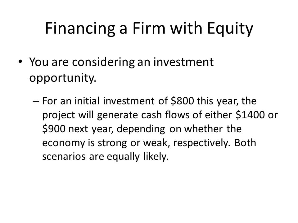 Financing a Firm with Equity You are considering an investment opportunity.
