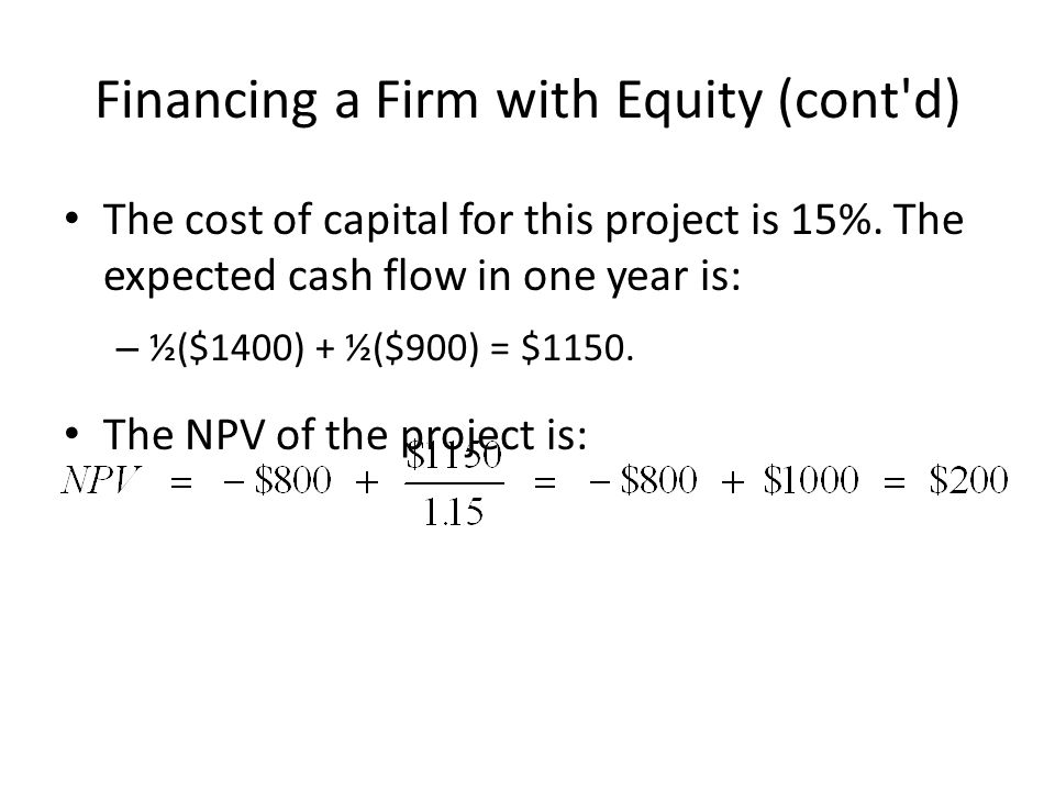 Financing a Firm with Equity (cont d) The cost of capital for this project is 15%.