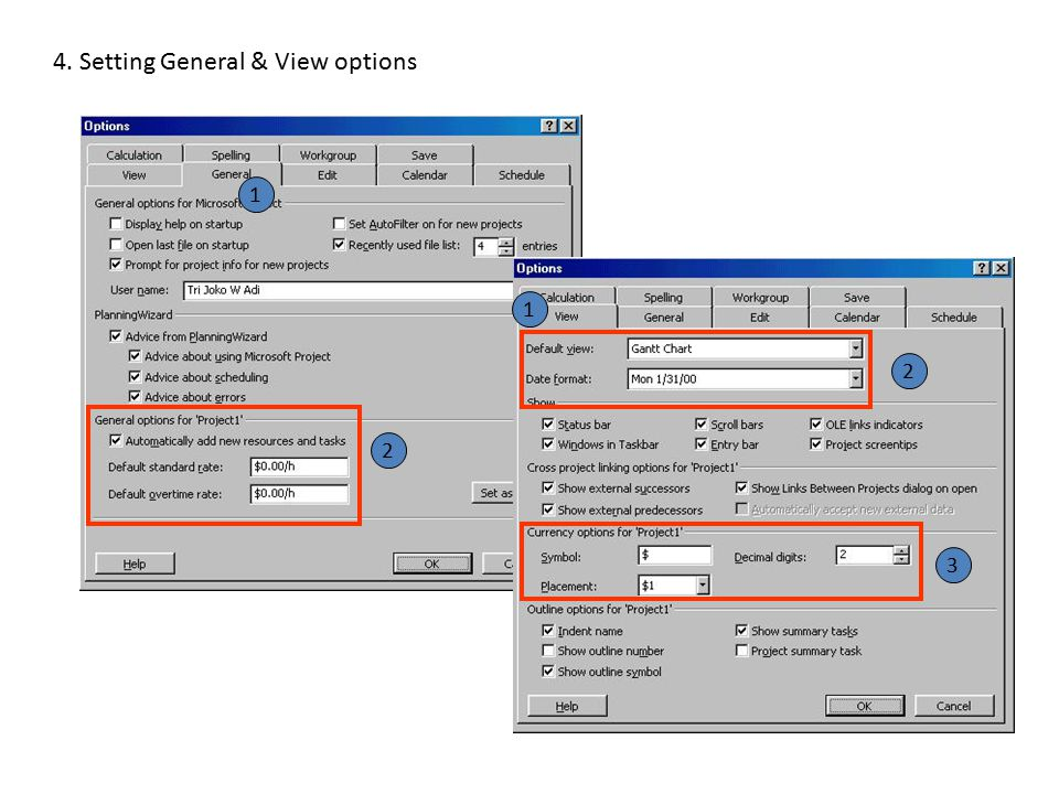 4. Setting General & View options 2 2 3 1 1