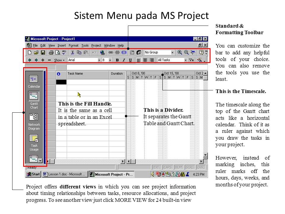 Sistem Menu pada MS Project This is a Divider. It separates the Gantt Table and Gantt Chart. This is the Timescale. The timescale along the top of the