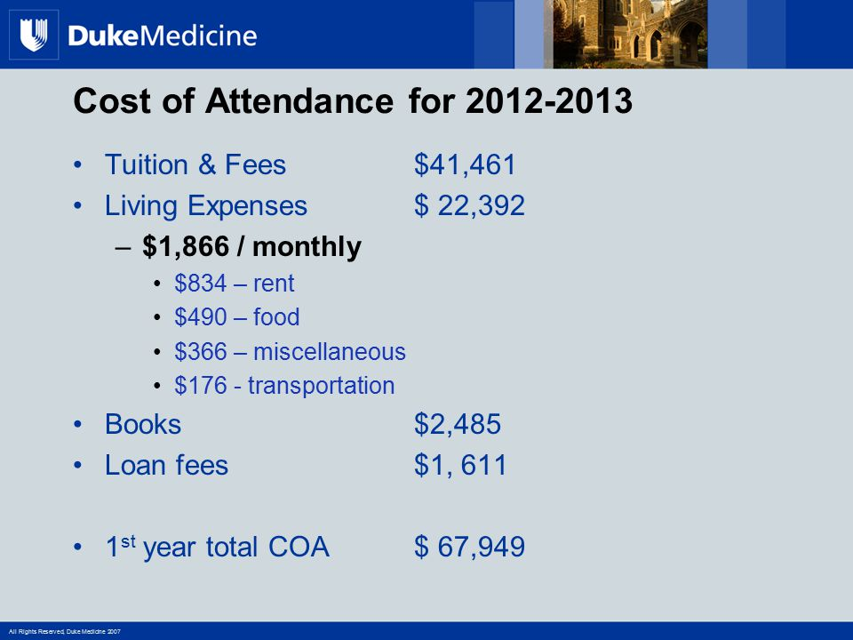 All Rights Reserved, Duke Medicine 2007 Tuition & Fees$41,461 Living Expenses$ 22,392 –$1,866 / monthly $834 – rent $490 – food $366 – miscellaneous $